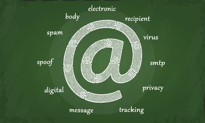 Electronic email chalkboard illustration