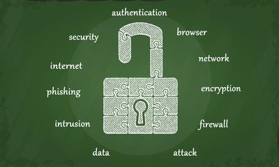 Internet security chalkboard illustration