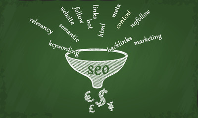 Search engine optimization chalkboard illustration