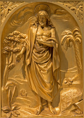 Brussels - The relief of resurrected Christ in tabernacle