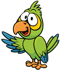 Vector illustration of cartoon parrot