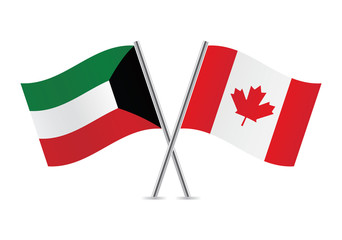 Canadian and Kuwait flags. Vector illustration.