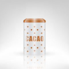 Vintage style retro cacao metal can with dot pattern