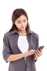 business woman using, texting with smartphone