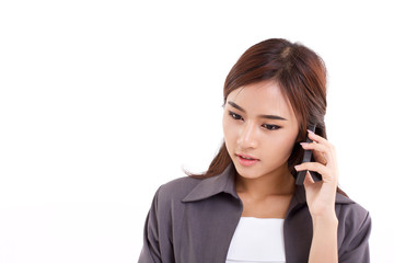 business woman talking, communicating via her smartphone