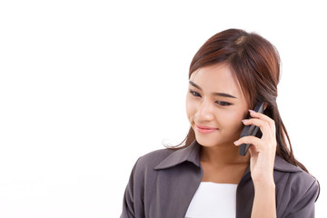smiling business woman talking via smart phone