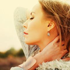 Beautiful Woman in profile, outdoor, toned