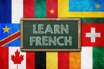 Learn French - vintage background concept