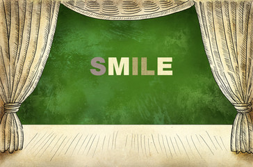 Theater curtain with Inscription Smile