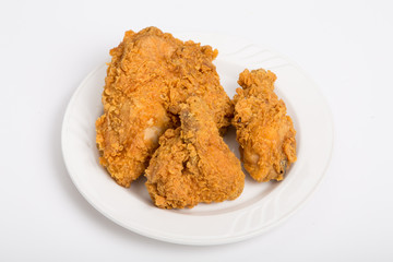 Fried Chicken Pieces on Small White Plate