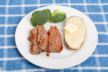 Dinner of Meatloaf Potato and Broccoli