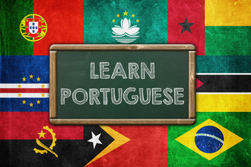 Learn Portuguese - vintage background concept