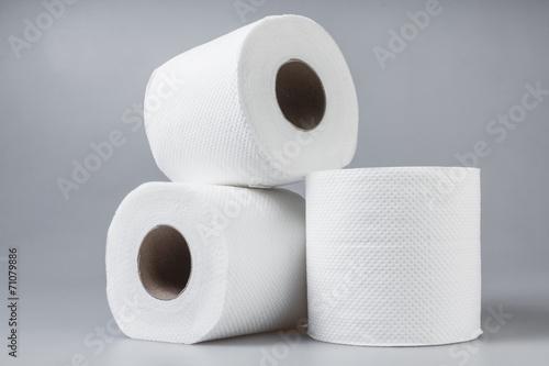 Stack of white tissue paper rolls. - 71079886