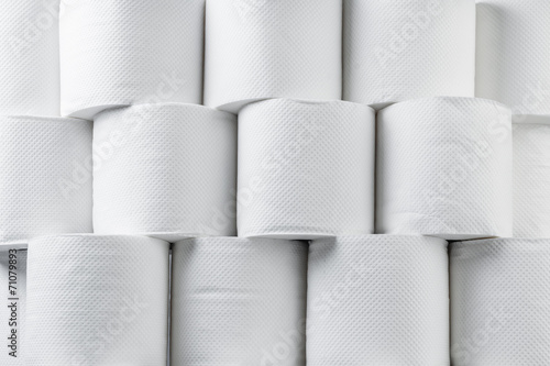 Stack of white tissue paper rolls. - 71079893