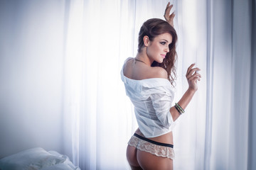 Sensual brunette woman posing
