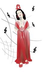 Mujer cantando copla.
