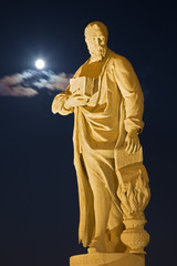 Padua - Statue on Prato della Valle at night.