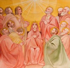 Padua -  Fresco of Pentecost scene in Basilica del Carmine