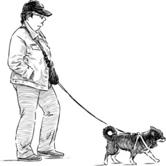 person with a dog