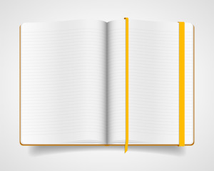 Blank vector notebook with yellow cover and bookmark