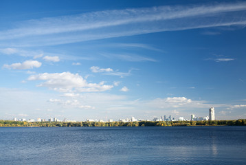 View of Moscow from Stroginsky Bay on sunny autumn day