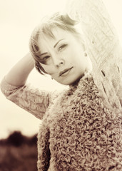 Toned in sepia, Woman Looking at Camera