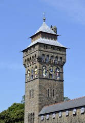 Cardiff tower clock and blue sky