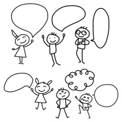 hand drawing cartoon concept happy people discuss business plan