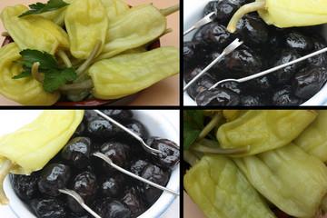Apéritif Tapas : Olives noires Poivron vinaigré