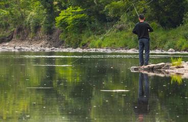 man river fishing reflection