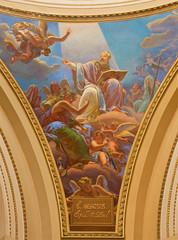 Bergamo - fresco of st. Ambrose in Immacolate church