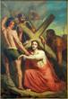 Leuven - Jesus under cross. Paint form St. Michael church