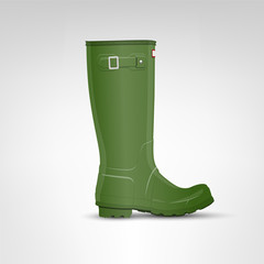 Olive (green) rubber boot illustration