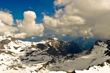 Alps with Clouds view from the Schilthorn mountain