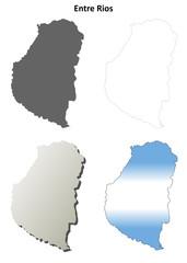 Entre Rios blank outline map set