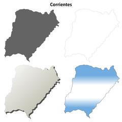 Corrientes blank outline map set