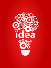 Smart Idea Light Bulb With Gears Concept