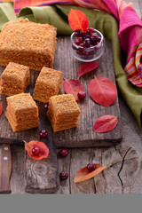 Homemade honey cakes with fresh cranberries
