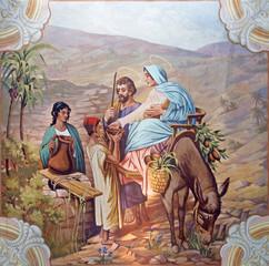 Flight of holy family to Egypt fresco from village church