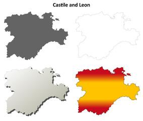 Castile and Leon blank detailed outline map set