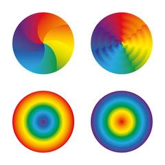 Rainbow circles set isolated objects