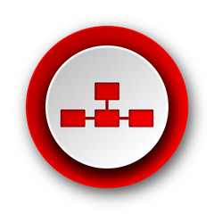 database red modern web icon on white background