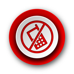 no phone red modern web icon on white background