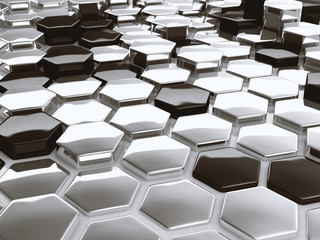 Modern abstract 3D architectural design hexagonal pattern