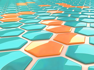 Abstract pattern of shiny hexagonal 3D shapes