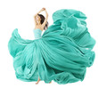 Woman Dancing In Fashion Dress, Fabric Cloth Waving On Wind