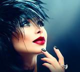 Fashion Art Portrait Of Beautiful Girl. Vogue Style Woman