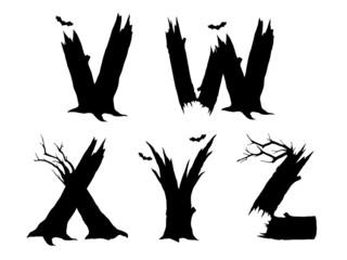 Halloween horror alphabet letters VWXYZ