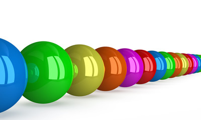 Row of multicolored balls isolated, p