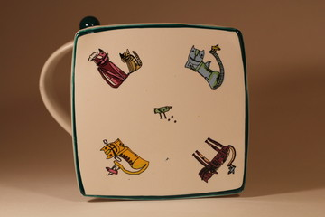 ceramic mug with cats